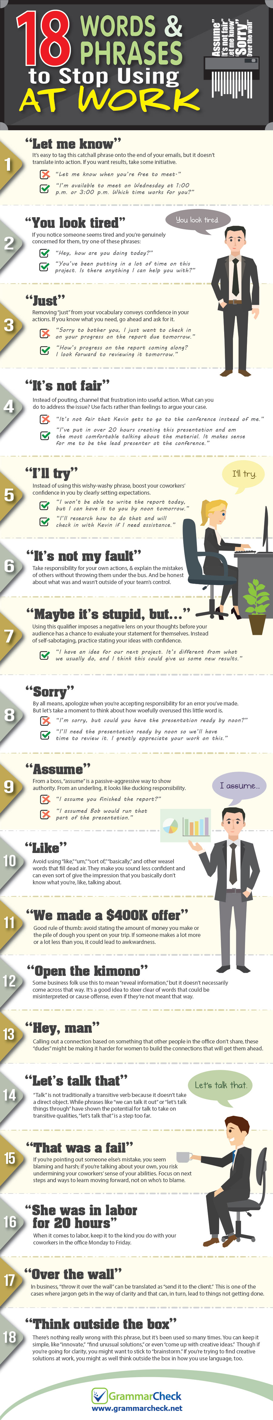 18 Words and Phrases to Stop Using at Work (Infographic)