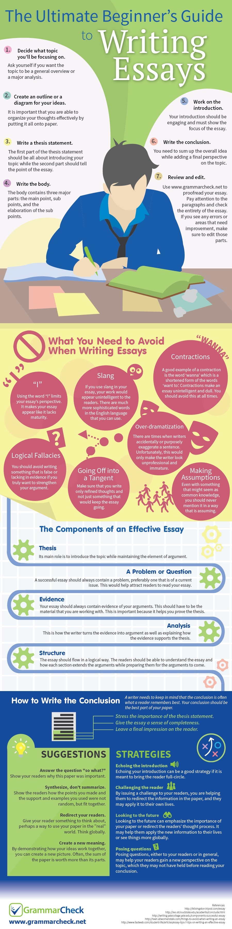 The Ultimate Beginners Guide To Writing Essays Infographic  Essay For High School Application also Thesis Statements For Essays  Sample Of English Essay