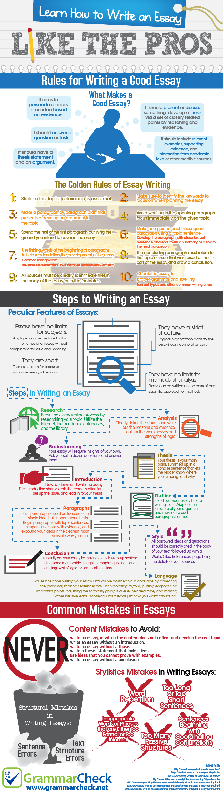 how to write an essay like the pros infographic