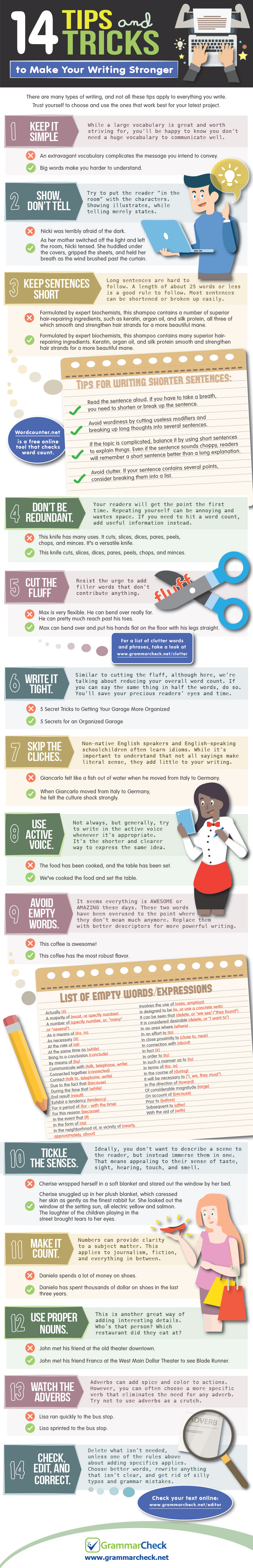 14 Tips and Tricks to Make Your Writing Stronger (Infographic)